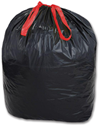 33 GALLON KITCHEN TRASH BAGS WITH DRAW-TIE 33X40 BLACK 150/CS