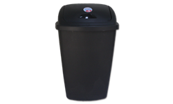 13.2 GALLON STERILITE BLACK INDOOR TRASH CAN WITH LID 4/case