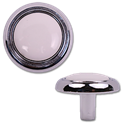 "1-1/4"" CABINET KNOB - WHITE AND CHROME - 5/PK"