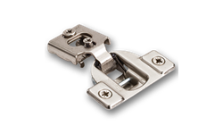 "1/2"" OVERLAY FACE FRAME CABINET HINGE WITH DOWELS- SATIN NICKEL"
