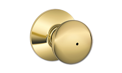 SCHLAGE PLYMOUTH PRIVACY LOCK - POLISHED BRASS