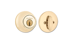 KWIKSET DEADBOLT NO LATCH - POLISHED BRASS