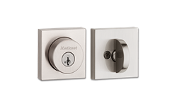 KWIKSET HALIFAX SQUARE SINGLE CYLINDER DEADBOLT WITH SMARTKEY - SATIN NICKEL