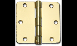 "3-1/2"" DOOR HINGE 1/4"" RADIUS, PAIR - POLISHED BRASS"