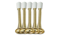 "3-1/8"" HEAVY DUTY SPRING DOOR STOP - POLISHED BRASS - 5/PK"