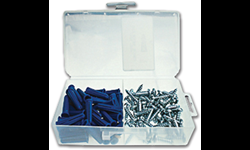 "1/4"" PLASTIC ANCHOR & SCREW KIT W/#10 - 1"" PAN HEAD SCREWS- 100/BX"