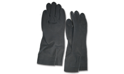 BLACK NEOPRENE FLOCK-LINED GLOVES - MEDIUM