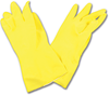 YELLOW LATEX GLOVES FLOCK-LINED - LARGE