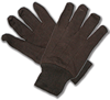 BROWN JERSEY GLOVES - LARGE