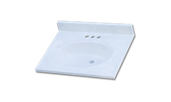 "25"" X 19"" CULTURED MARBLE VANITY TOP - WHITE"