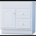 "30""W X 21""D CASCADE DELUXE WHITE VANITY BASE - SINGLE DOOR/DOUBLE DRAWER"