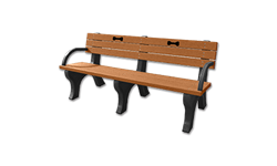 DSO- DOGIPARK 6' BACKED POLY BENCH WITH BONES - BLACK/CEDAR