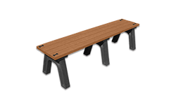 DSO- DOGIPARK 6' POLY BENCH WITH BONES - BLACK/CEDAR