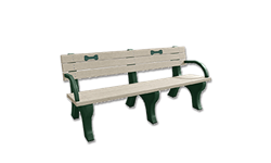 DSO- DOGIPARK 6' BACKED POLY BENCH WITH BONES - GREEN/SAND